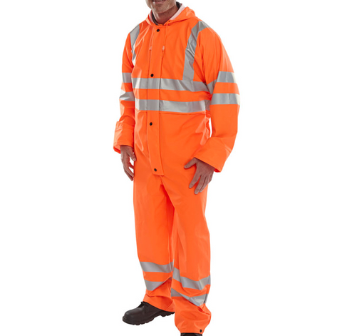 Beeseen Breathable Hi-Vis Rail Spec Orange Overalls