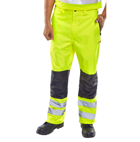 Beeseen Hi-Vis Two-Tone Workers Trousers - Yellow & Black