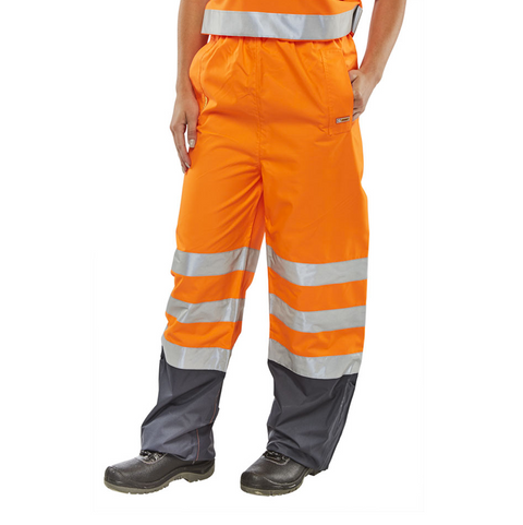 Hi-Vis Rail Workers Breathable Over Trousers - Orange & Navy