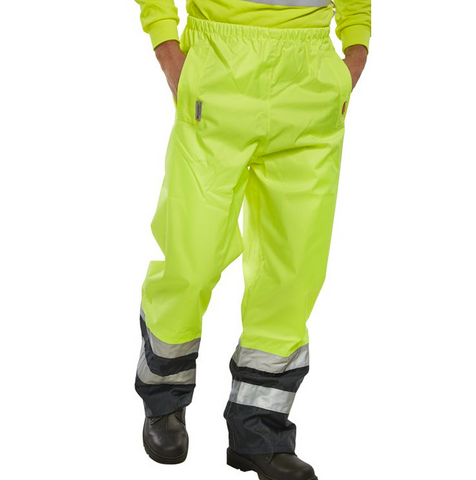 Hi-Vis Road Workers Breathable Over Trousers - Yellow & Navy