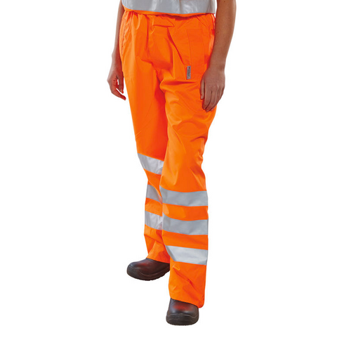 Hi-Vis Rail Workers Breathable Over Trousers - Orange