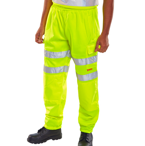 Hi-Vis Workers Jogging Bottom Trousers - Yellow