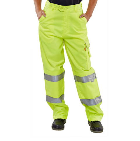 Ladies Hi-Vis Worker Cargo Trousers - Yellow