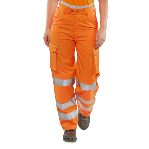 Ladies Hi-Vis Rail Worker Cargo Trousers - Orange
