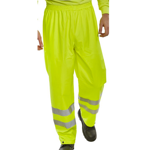 Hi-Vis Weatherproof Over Trousers - Yellow