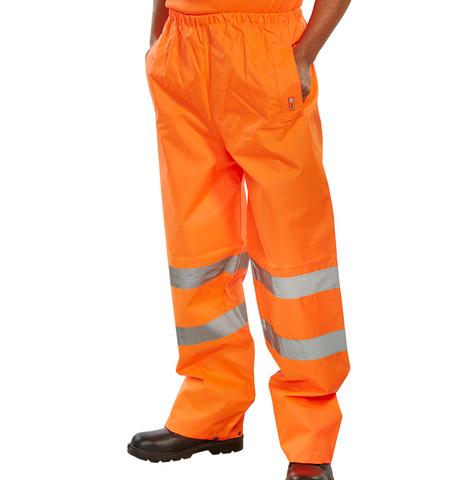 Hi-Vis Essential Weatherproof Over Trousers - Orange