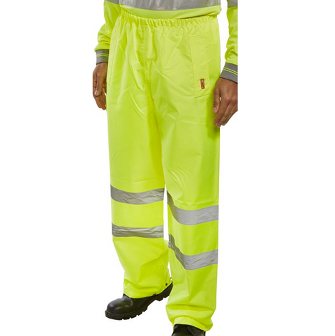 Hi-Vis Essential Weatherproof Over Trousers - Yellow