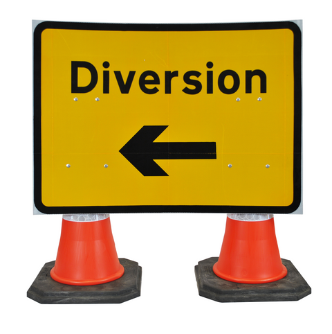 Diversion Left 1050 x 750mm Hangman Sign (Double Cone) 2702