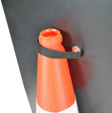 Traffic Queues Likely on Road Ahead 750mm Triangle Hangman Sign (Single Cone)