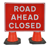 Road Ahead Closed 1050 x 750mm Hangman Sign (Double Cone)