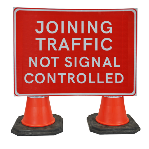 Joining Traffic Not Signal Controlled 1050 x 750mm Hangman Sign (Double Cone)