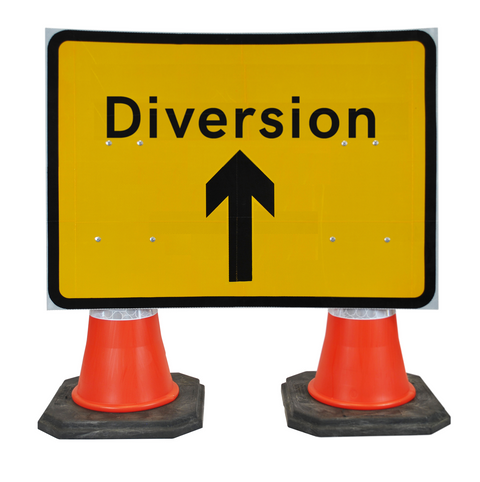 Diversion Ahead 1050 x 750mm Hangman Sign (Double Cone) 2702b