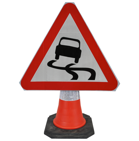 Slippery Road Surface 750mm Triangle Hangman Sign (Single Cone)