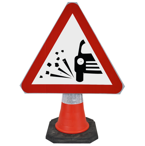 Loose Chippings on Road Ahead 750mm Triangle Hangman Sign (Single Cone) 7009