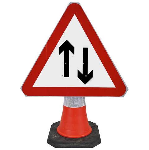 Two-Way Traffic 750mm Triangle Hangman Sign (Single Cone)