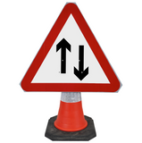 Two-Way Traffic 750mm Triangle Hangman Sign (Single Cone) 521