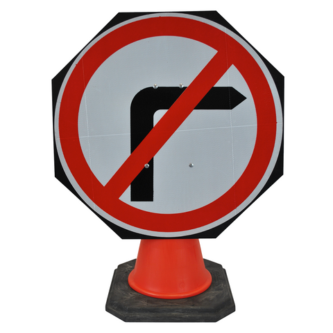 No Right Turn 750mm Circle Hangman Sign (Single Cone) 612