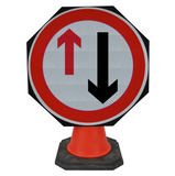 Give Way to Oncoming Traffic 750mm Circle Hangman Sign (Single Cone) 615