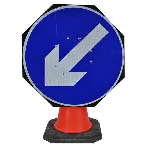 Keep Left/Right Reversible Traffic 750mm Circle Hangman Sign (Single Cone) 610