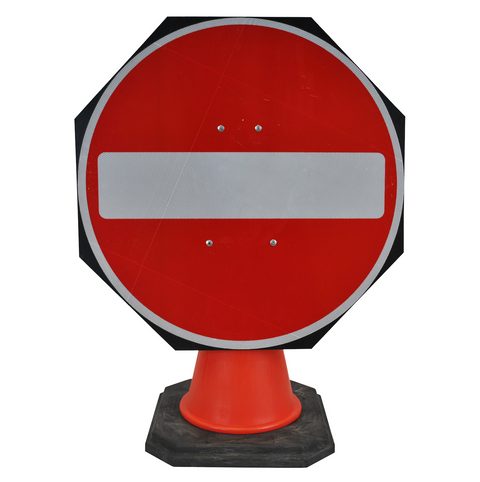 No Entry 750mm Circle Hangman Sign (Single Cone) 616