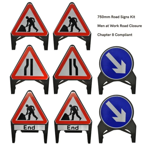 Traffic Management Signs Kit: Men at Work / Road Closure
