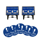 """Please keep your distance"" Freestanding Signs Bundle with Floor Stickers"