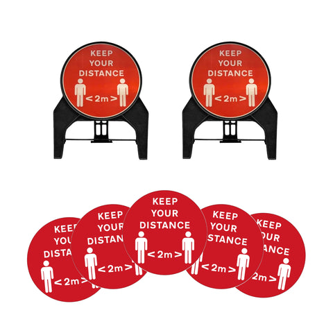 """Keep your distance 2m"" Circle Freestanding Sign with Floor Stickers"