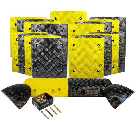 Speed Bump Kits 50mm black and yellow concrete 10 meter.
