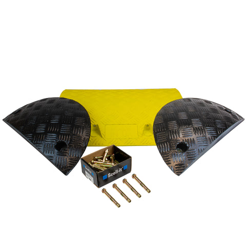 Yellow and Black speed bump kit 1 meter concrete variation.