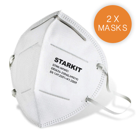FFP2/N95 Disposable Respiratory Face Dust Masks - Pack of 2