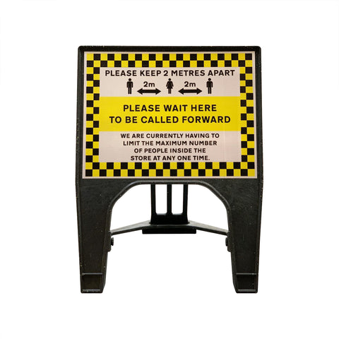 """Please wait here to be called forward"" Small Freestanding Sign"