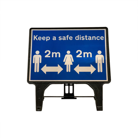 """Keep a safe distance"" Large Freestanding Sign"