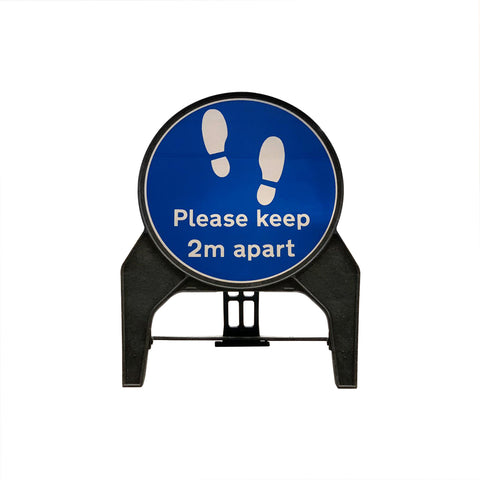 """Please keep 2m apart"" Circle Freestanding Sign front view."