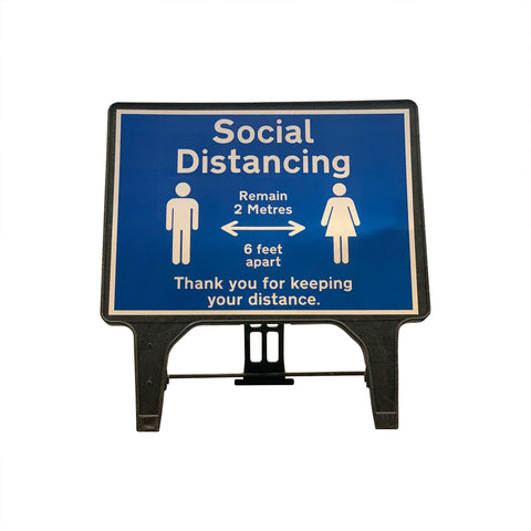 """Social Distancing Remain 2 Metres""  Large Freestanding Sign"