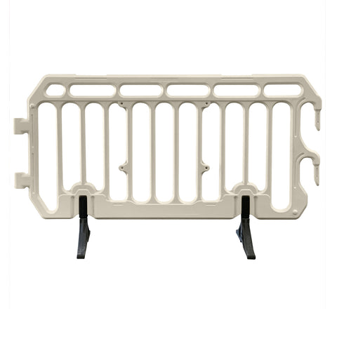 White crowd control barrier with standard foot