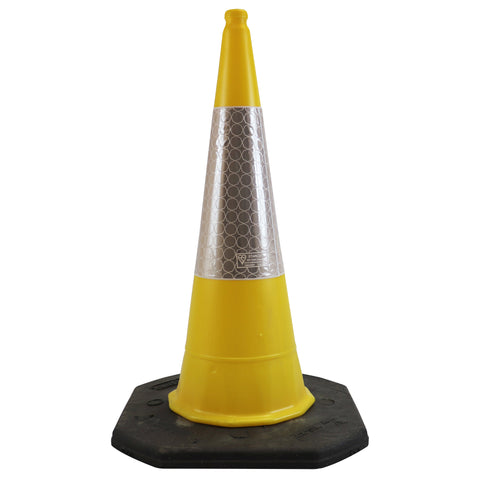 Yellow 1 Metre Two Piece Road Cone