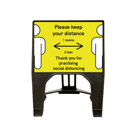 """Please keep your distance"" 1 Metre - Small Yellow Freestanding Sign"