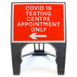 COVID-19 TESTING CENTRE APPOINTMENT ONLY Left 600 x 450mm Small Freestanding Sign