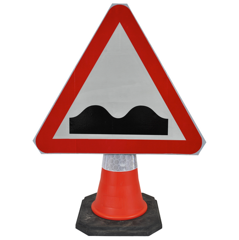 Uneven Road 750mm Triangle Hangman Sign (Single Cone)