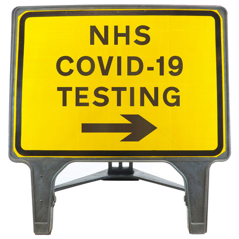 NHS COVID-19 TESTING Right Arrow 1050 x 750mm Large Freestanding Sign
