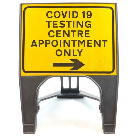 COVID-19 TESTING CENTRE APPOINTMENT ONLY Right 600 x 450mm Small Freestanding Sign