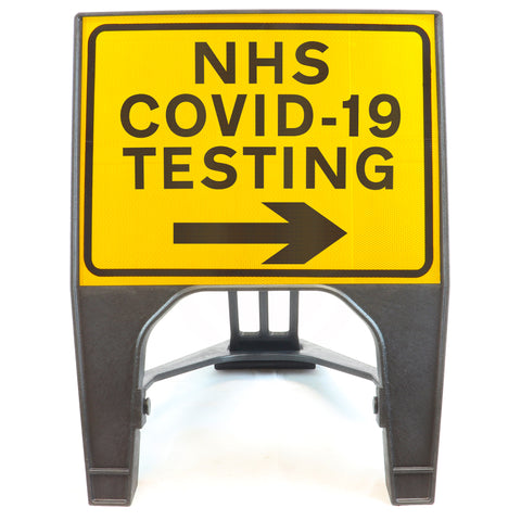 NHS COVID-19 TESTING Right 600 x 450mm Small Freestanding Sign