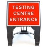TESTING CENTRE ENTRANCE 600 x 450mm Small Freestanding Sign