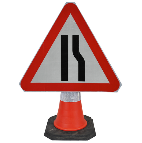 Road Narrows Right 750mm Triangle Hangman Sign (Single Cone) 517