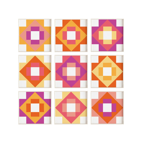 Graphic Quilt Collage Print Set | Digital Download