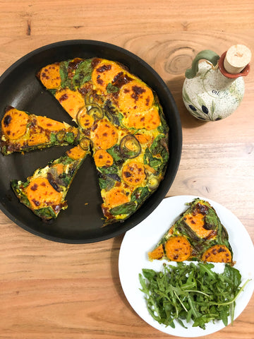 Healthy Meal Ideas - Sweet Potato, Spinach and Red Onion Frittata