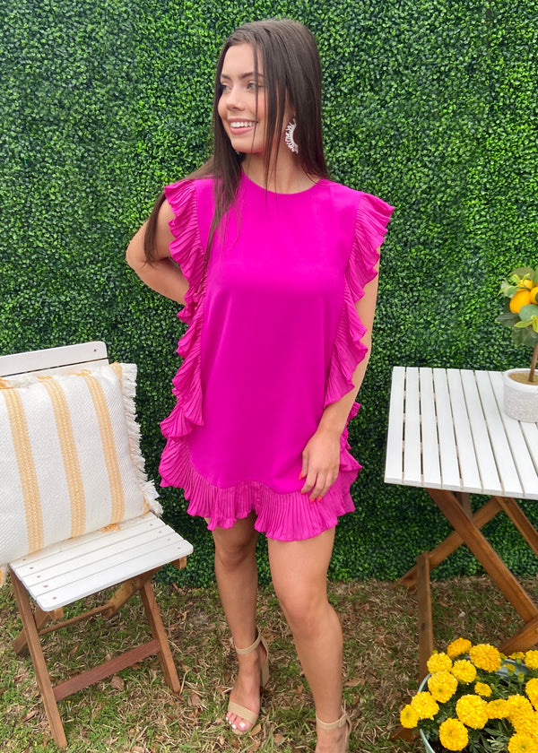 It's Essential Magenta Ruffle Dress-Shop-Womens-Boutique-Clothing