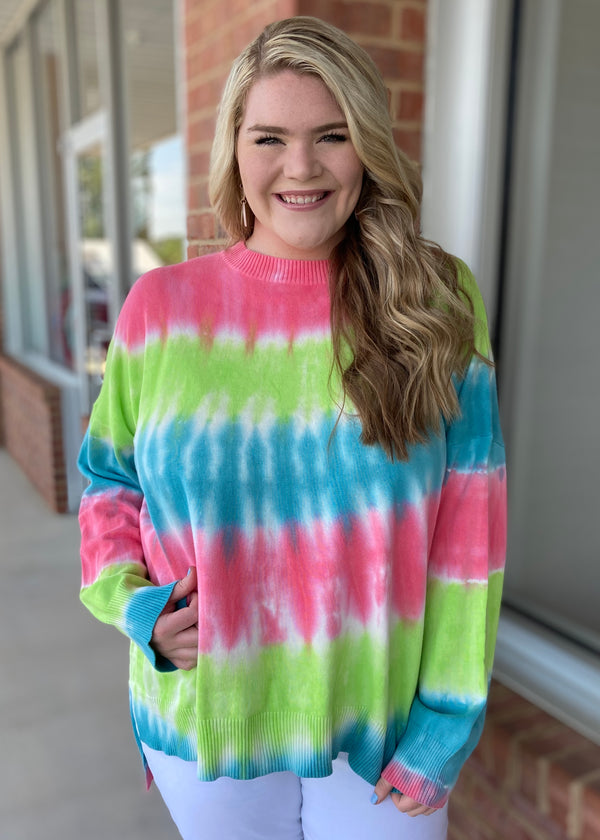 Bring On The Color Plus Tie Dye Sweater-Shop-Womens-Boutique-Clothing