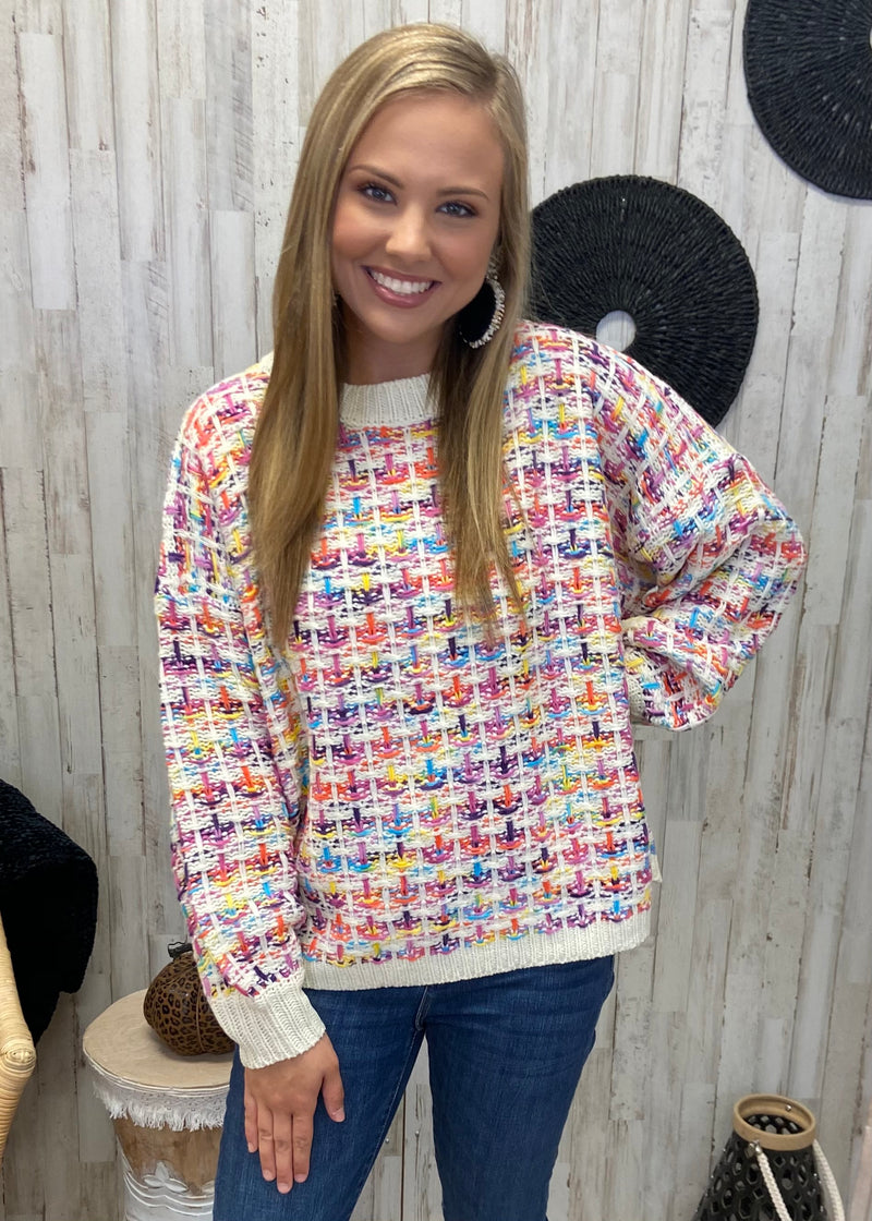 Go Crazy Rainbow Sweater-Shop-Womens-Boutique-Clothing