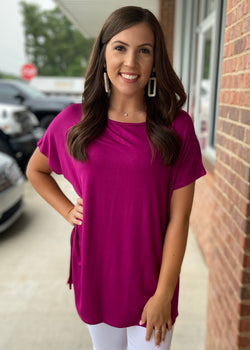Anything But Basic Magenta Top-Shop-Womens-Boutique-Clothing